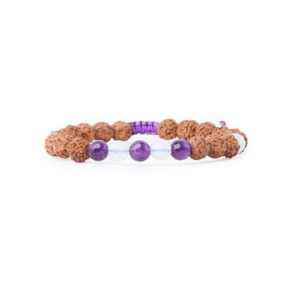 Amethyst Om Mala Bracelet - Tiny Devotions Gemstone 108 Mala Beads Intentional Jewelry