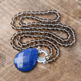 Lapis Intuition Amplifier - Silver - Tiny Devotions Gemstone 108 Mala Beads Intentional Jewelry