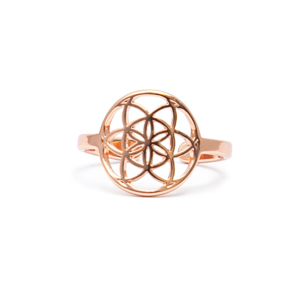 Rose Gold Tiny Seed of Life Ring by Tiny Devotions