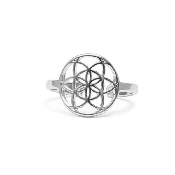 Tiny Seed of Life Ring - Silver