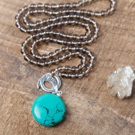 Turquoise Howlite Communication Amplifier - Silver - Tiny Devotions Gemstone 108 Mala Beads Intentional Jewelry