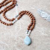 Rare Stone Aquamarine Mala - Mala Beads Meditation Accessories and Yoga Jewelryby Tiny Devotions