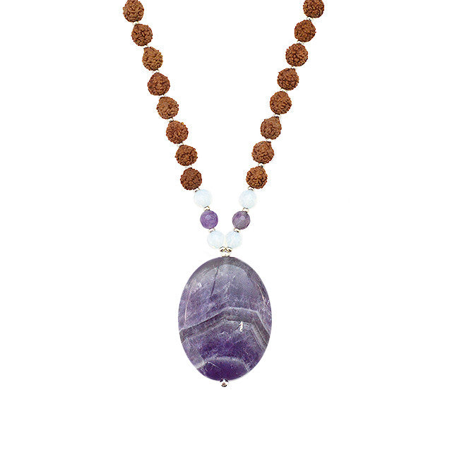 Amethyst Om Mala - Tiny Devotions Gemstone 108 Mala Beads Intentional Jewelry