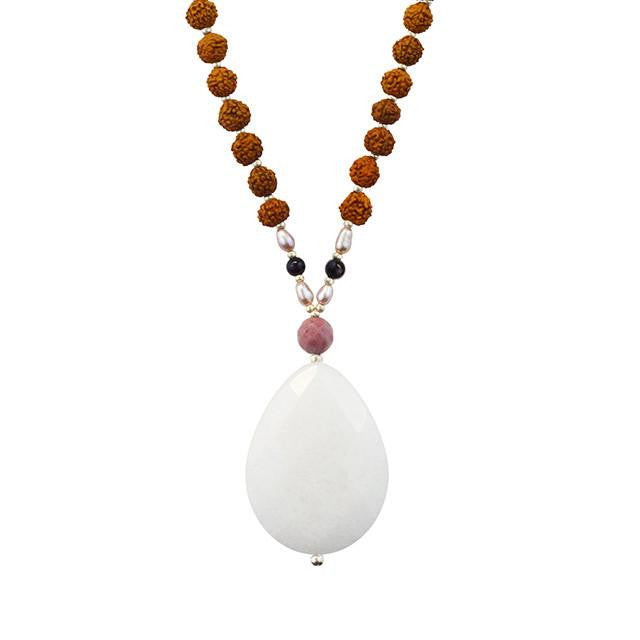 White Jade Highest Potential Mala - Tiny Devotions Gemstone 108 Mala Beads Intentional Jewelry