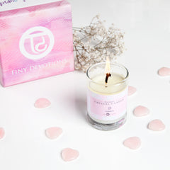 Mini Rose Quartz Crystal Candle by Tiny Devotions