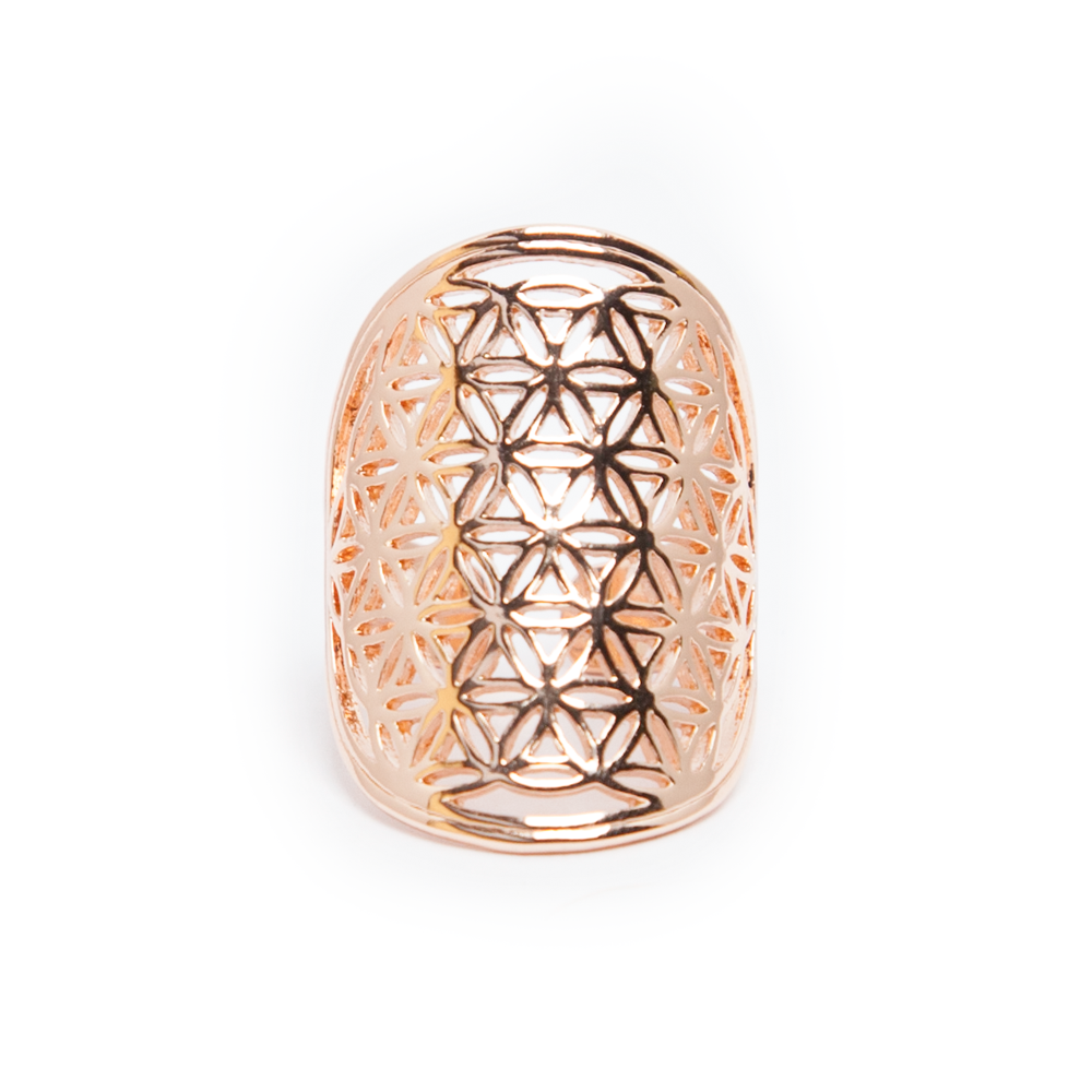 Flower of Life Ring - Rose Gold - Tiny Devotions Gemstone 108 Mala Beads Intentional Jewelry