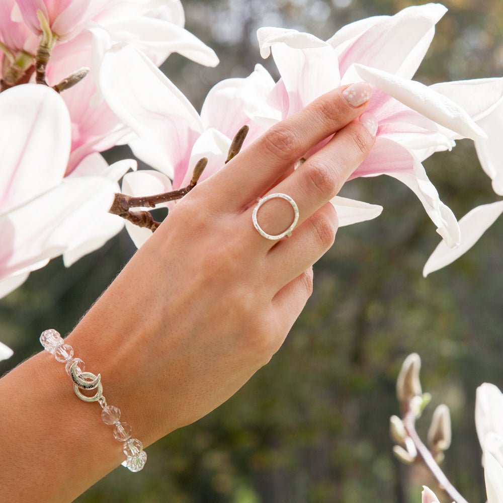 Infinite Meditation Ring - Silver - Tiny Devotions Gemstone 108 Mala Beads Intentional Jewelry