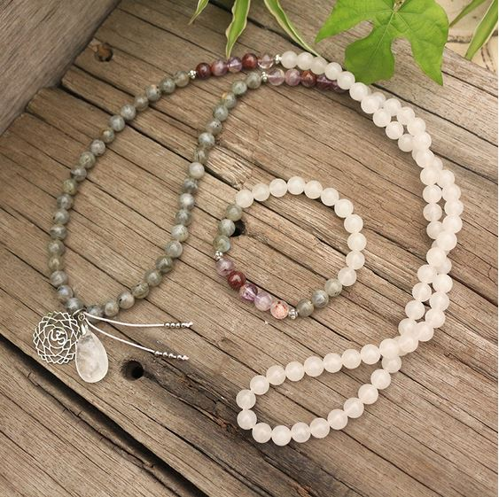 Unveil Truth Mala Bead Necklace - Tiny Devotions Gemstone 108 Mala Beads Intentional Jewelry