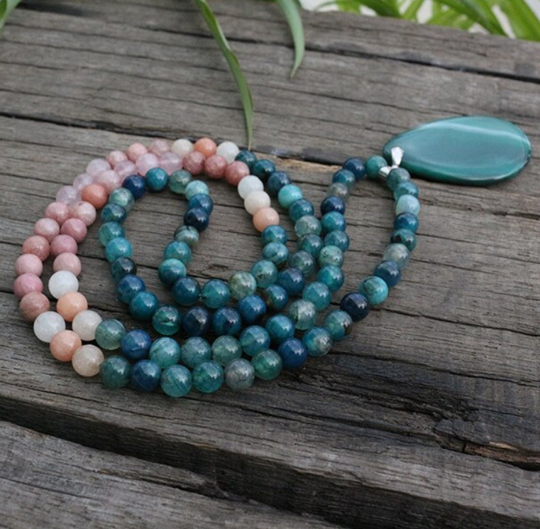 Ambition Mala Bead Necklace - Tiny Devotions Gemstone 108 Mala Beads Intentional Jewelry