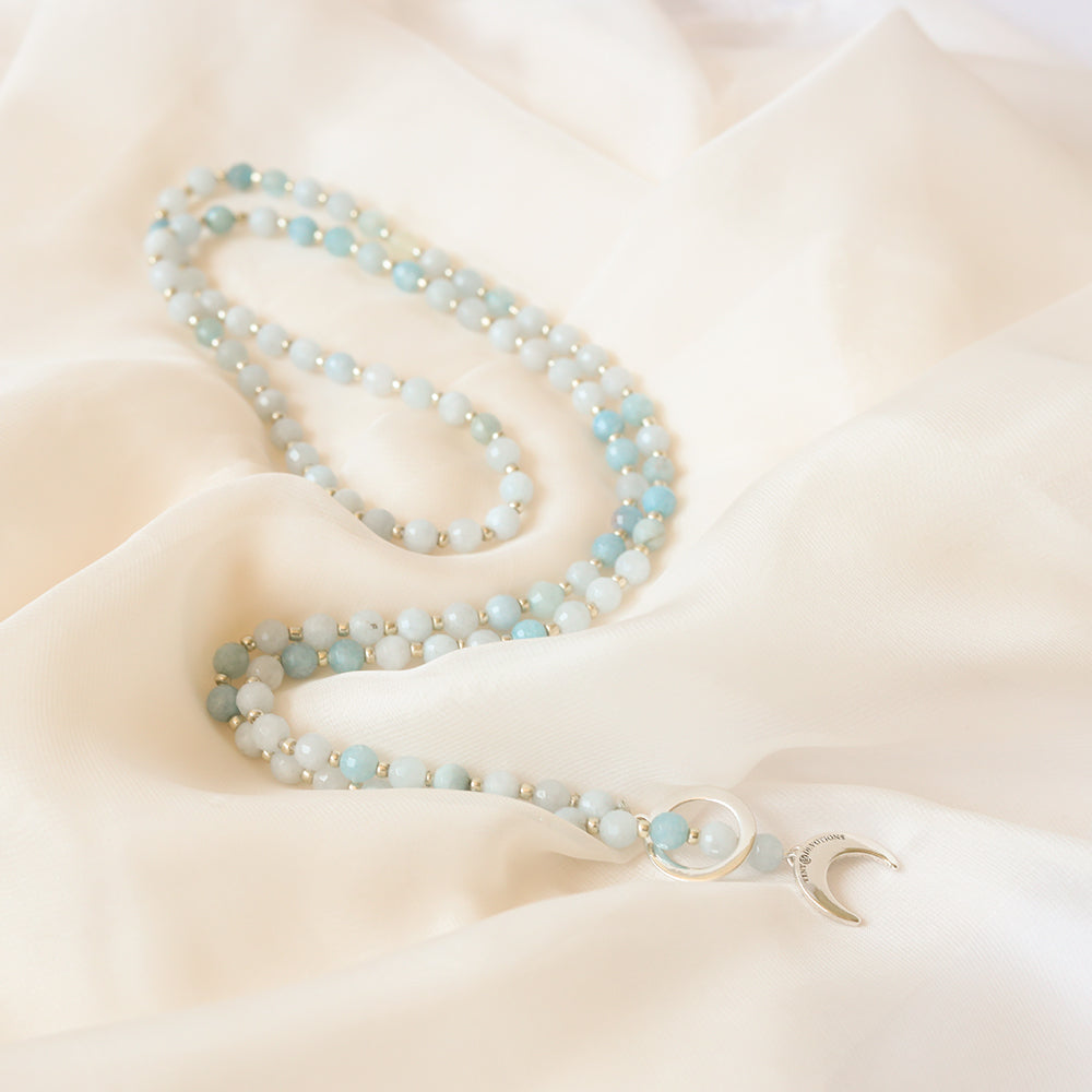Aquamarine Limitless Mala Necklace - Tiny Devotions Gemstone 108 Mala Beads Intentional Jewelry