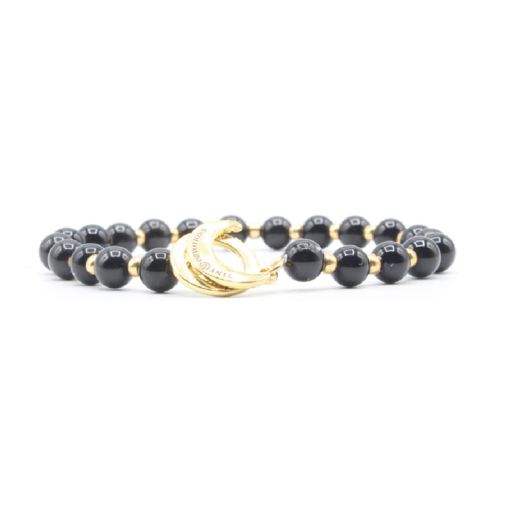 Black Onyx Limitless Mala Bracelet - Gold - Tiny Devotions Gemstone 108 Mala Beads Intentional Jewelry