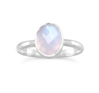Baby Moon Faceted Ring