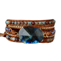 Faceted Labradorite Wrap Mala Bracelet