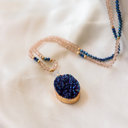 Blue Druzy Crystal Necklace - Mala Beads Meditation Accessories and Yoga Jewelryby Tiny Devotions