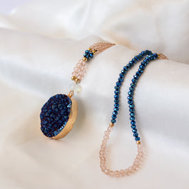Blue Druzy Crystal Necklace - Tiny Devotions Gemstone 108 Mala Beads Intentional Jewelry