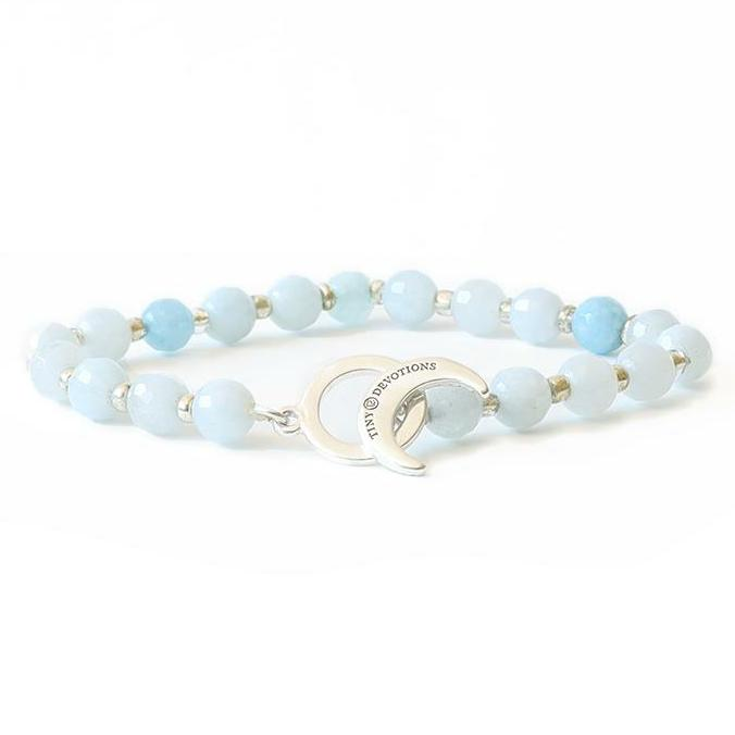 Aquamarine Limitless Bracelet - Tiny Devotions Gemstone 108 Mala Beads Intentional Jewelry