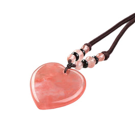 Cherry Quartz Heart Detox Necklace - Tiny Devotions Gemstone 108 Mala Beads Intentional Jewelry