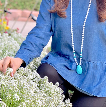 Purity Mala - Tiny Devotions Gemstone 108 Mala Beads Intentional Jewelry