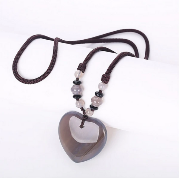 Gray Agate Heart Detox Necklace - Tiny Devotions Gemstone 108 Mala Beads Intentional Jewelry