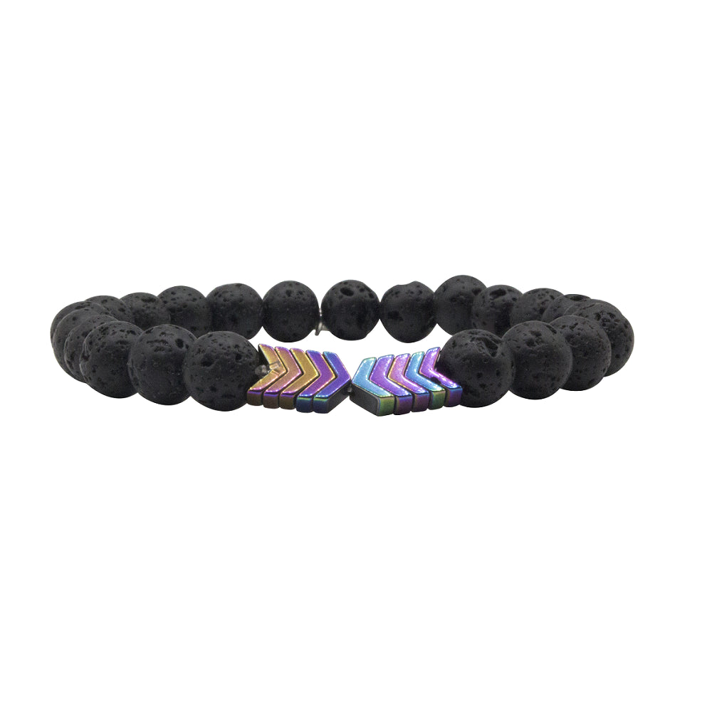 Rainbow Magnetite Lava Stone Bracelet by Tiny Devotions