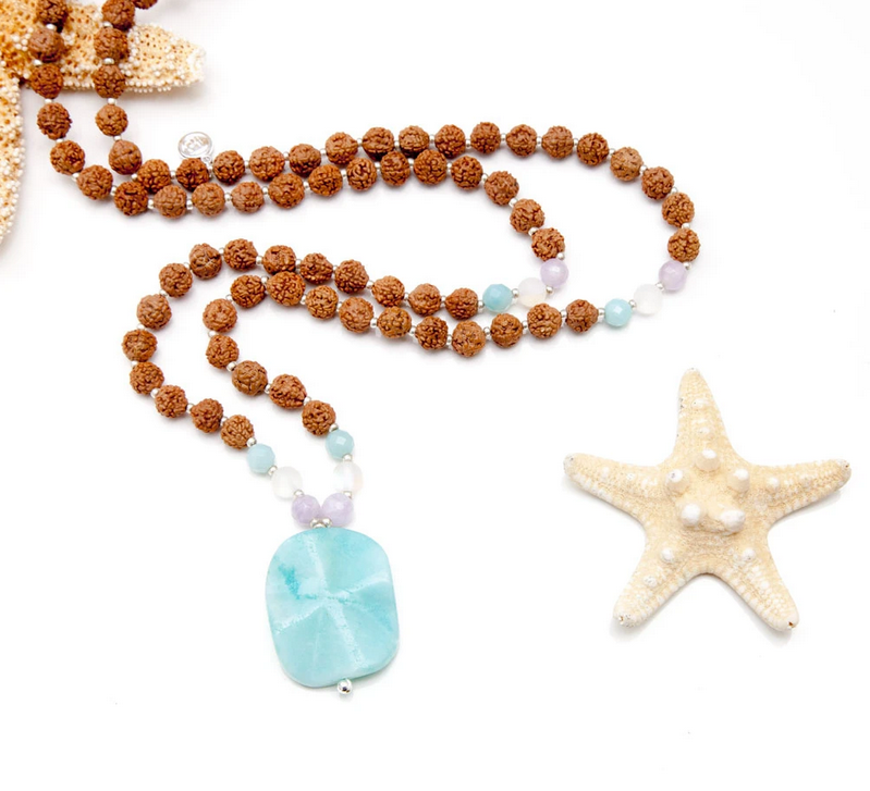 Mermaid Mala + Bracelet Bundle - Tiny Devotions Gemstone 108 Mala Beads Intentional Jewelry