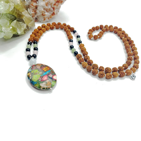 Wanderlust Mala Bead Necklace - Mala Beads Meditation Accessories and Yoga Jewelryby Tiny Devotions