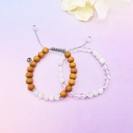Daughter of the Moon Bracelet Stack - Tiny Devotions Gemstone 108 Mala Beads Intentional Jewelry