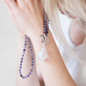 Amethyst Limitless Mala - Tiny Devotions Gemstone 108 Mala Beads Intentional Jewelry