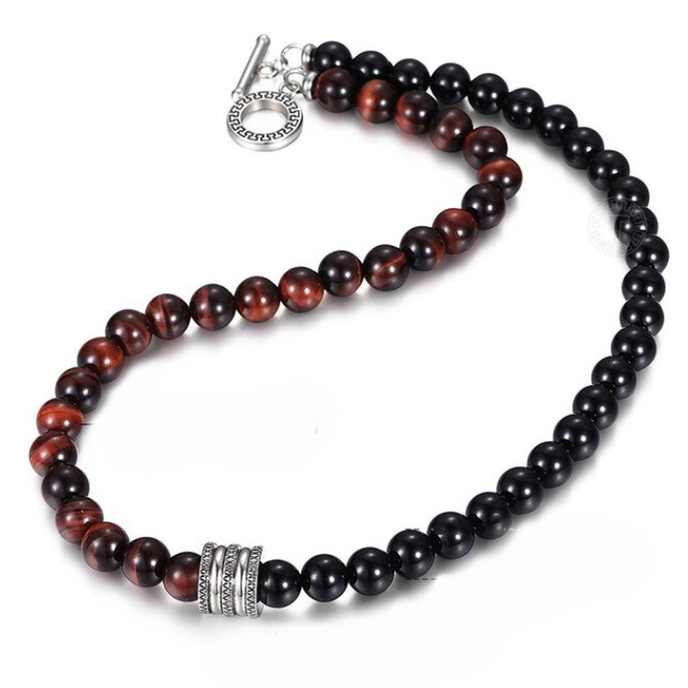 Red Tiger's Eye + Onyx Men's Mala - Mala Beads Meditation Accessories and Yoga Jewelry by Tiny Devotions