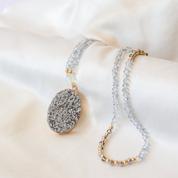 Silver Druzy Crystal Necklace - Mala Beads Meditation Accessories and Yoga Jewelryby Tiny Devotions