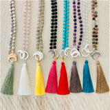 Purity Silk Tassel - Tiny Devotions Gemstone 108 Mala Beads Intentional Jewelry