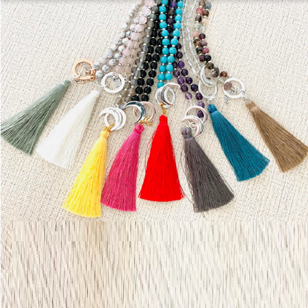 Transformation Silk Tassel - Tiny Devotions Gemstone 108 Mala Beads Intentional Jewelry