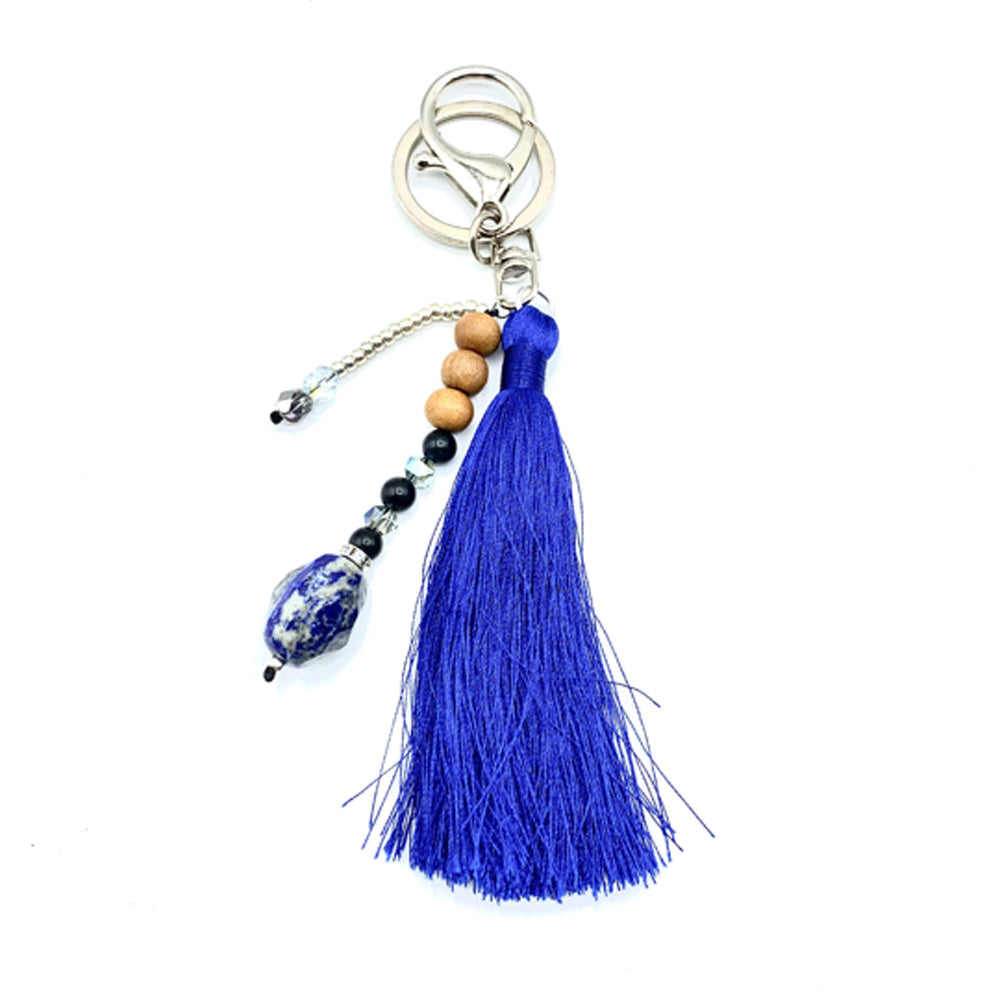 Tote Bag Dark Blue Tassel Bundle - Mala Beads Meditation Accessories and Yoga Jewelry by Tiny Devotions