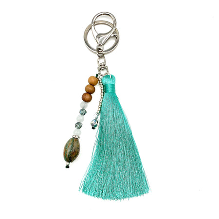 Tote Bag Teal Tassel Bundle - Tiny Devotions Gemstone 108 Mala Beads Intentional Jewelry