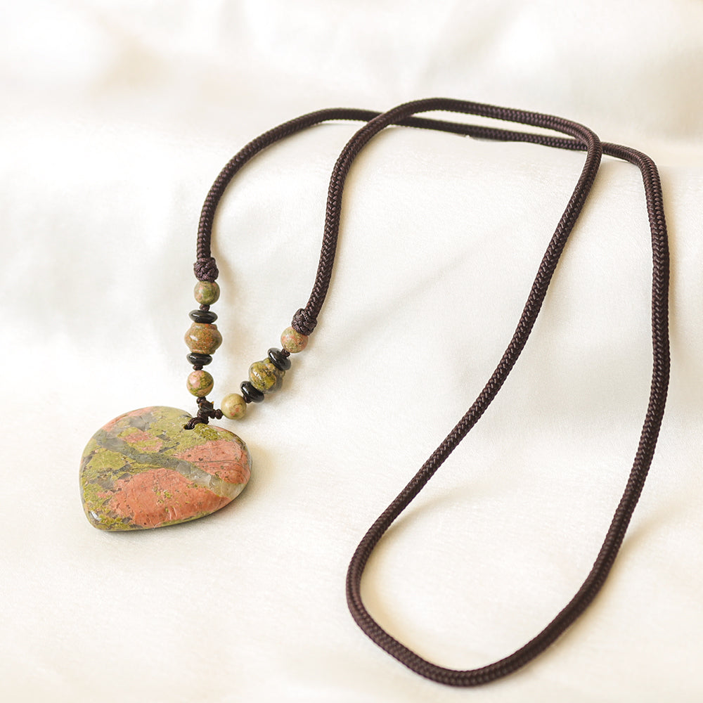 Unakite Heart Detox Necklace - Tiny Devotions Gemstone 108 Mala Beads Intentional Jewelry