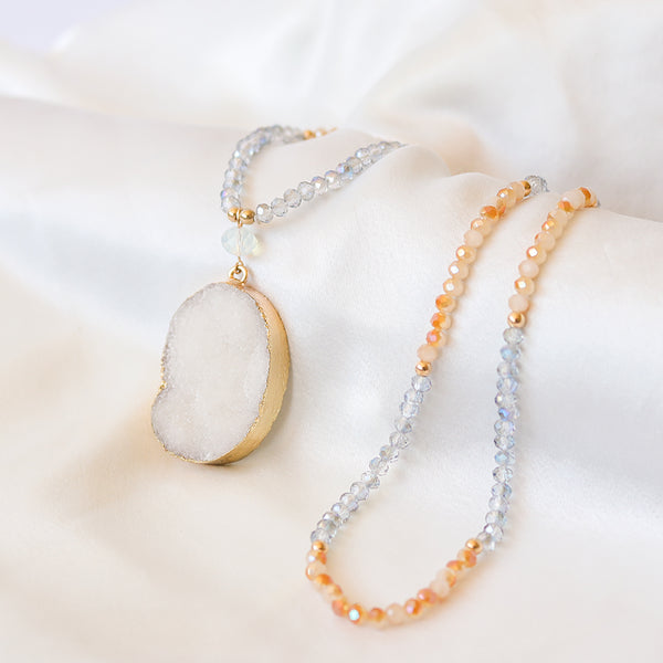 White Druzy Crystal Necklace - Mala Beads Meditation Accessories and Yoga Jewelryby Tiny Devotions