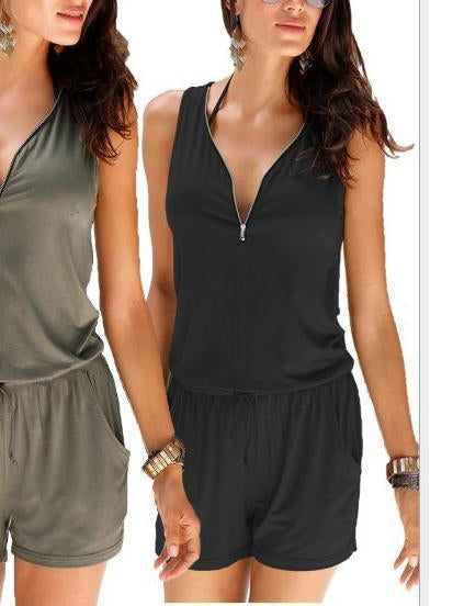 Solid Color V-Neck Sleeveless Jumpsuit