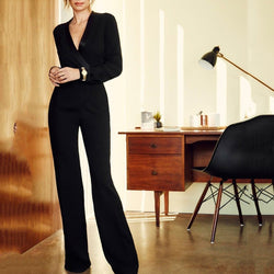 Fashion Elegant V Collar Slim Waisted Jumpsuit
