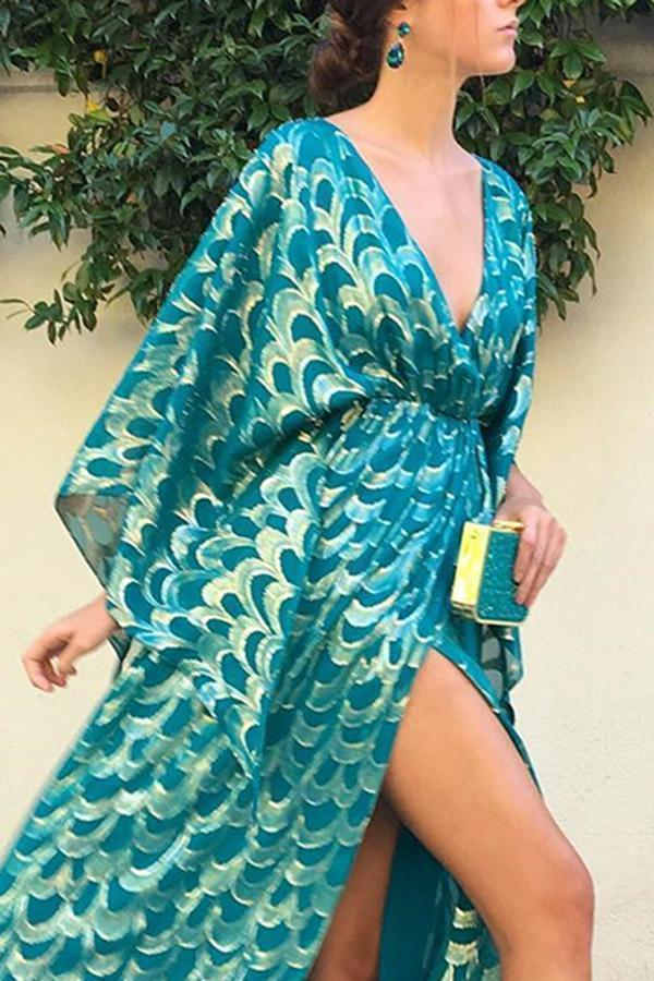 Fashion Deep V Neck Floral Print Maxi Dress