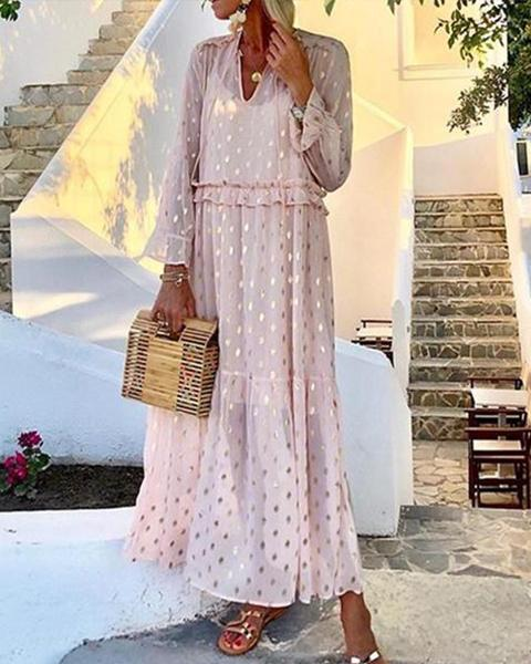 Romantic Fashion V-Neck Polka Dot Long-Sleeved Slim Dresses
