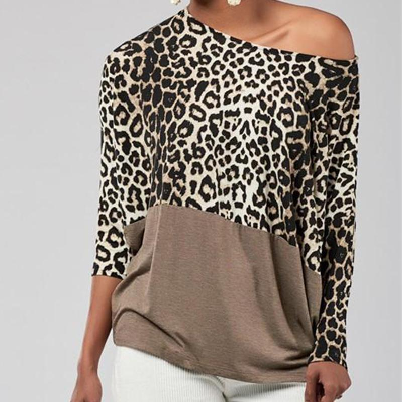 Fashion Casual sexy Off The Shoulder Matching Leopard Print Blouses T-Shirt