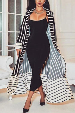 Fashion Casual Long Sleeve Trim Long Print Stripe Cardigan