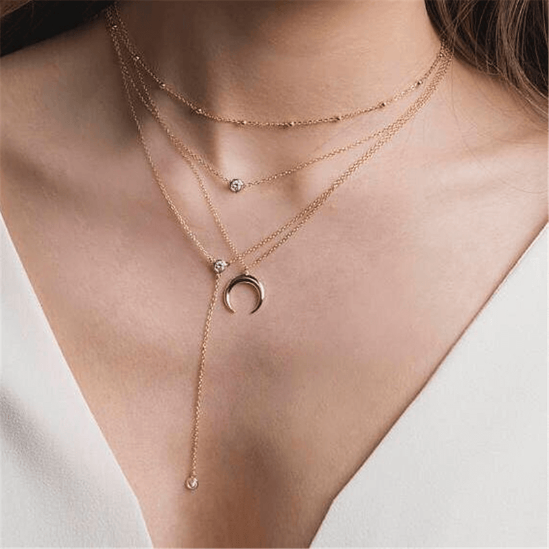 Fashion Crescent Pendant Long Multi-Layer Necklace