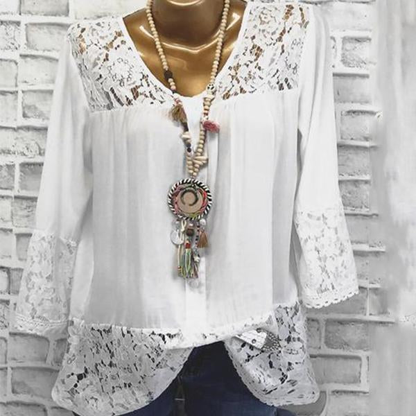 V Neck  Loose Fitting Patchwork  Lace Long Sleeve T-Shirts