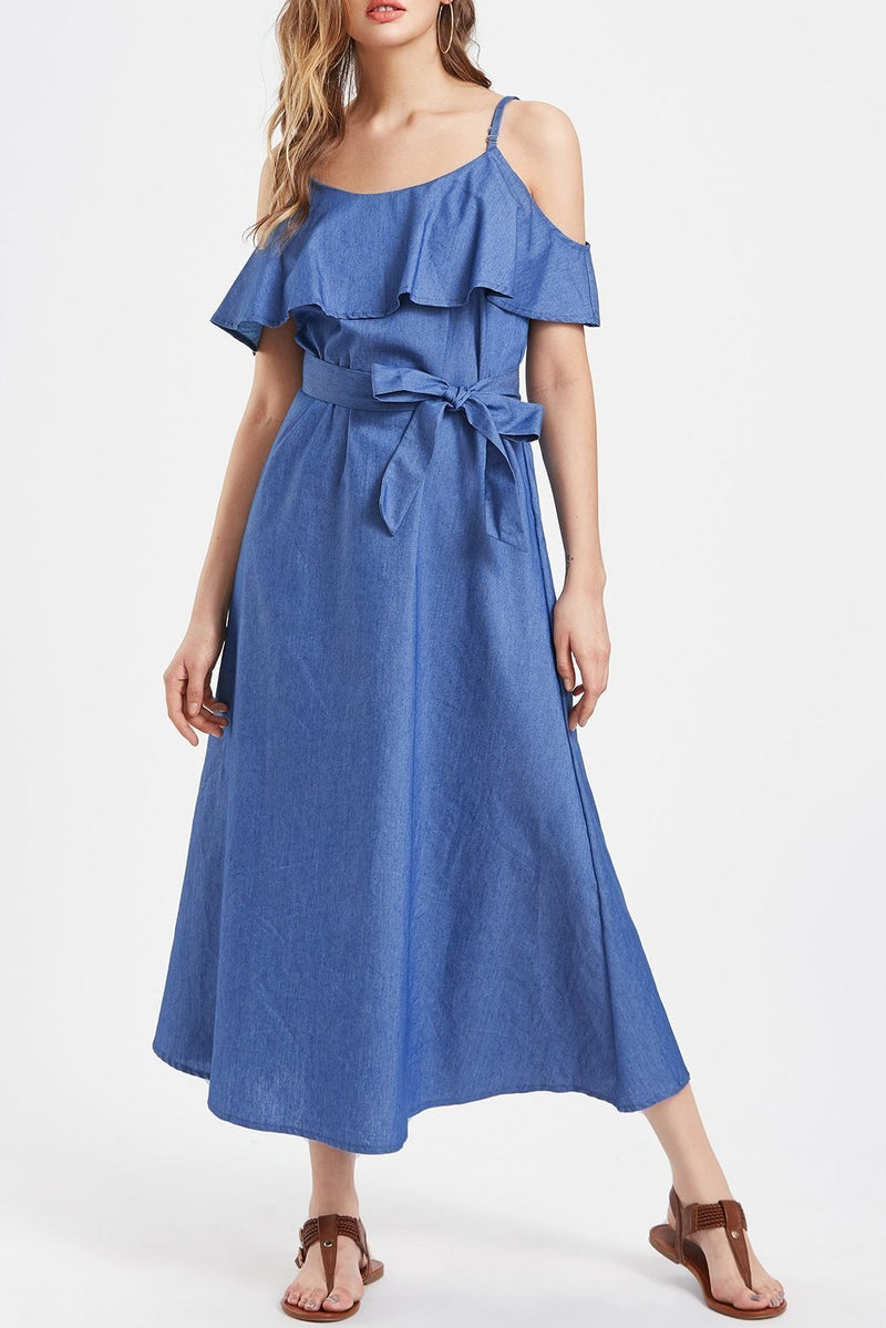 2019 Fashion Ruffle Straps Denim Vacation Dress