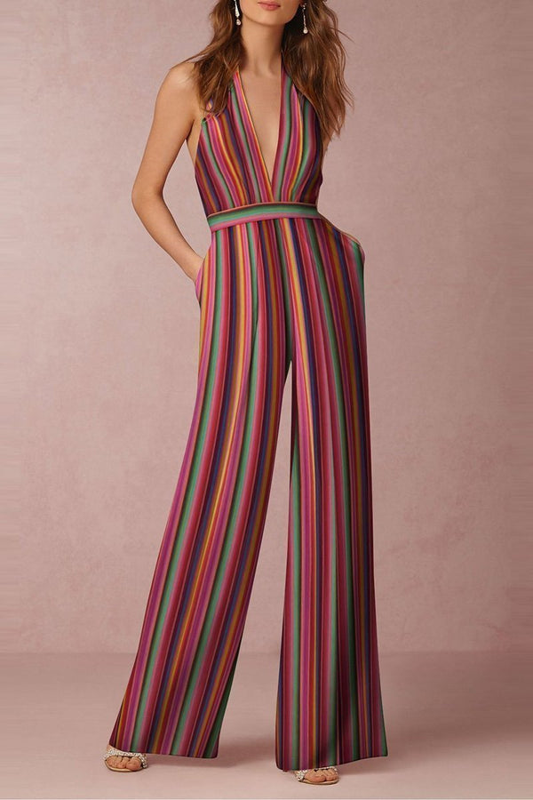 Women Sexy Backless Stripes Halter Strapless Wide Leg Jumpsuit