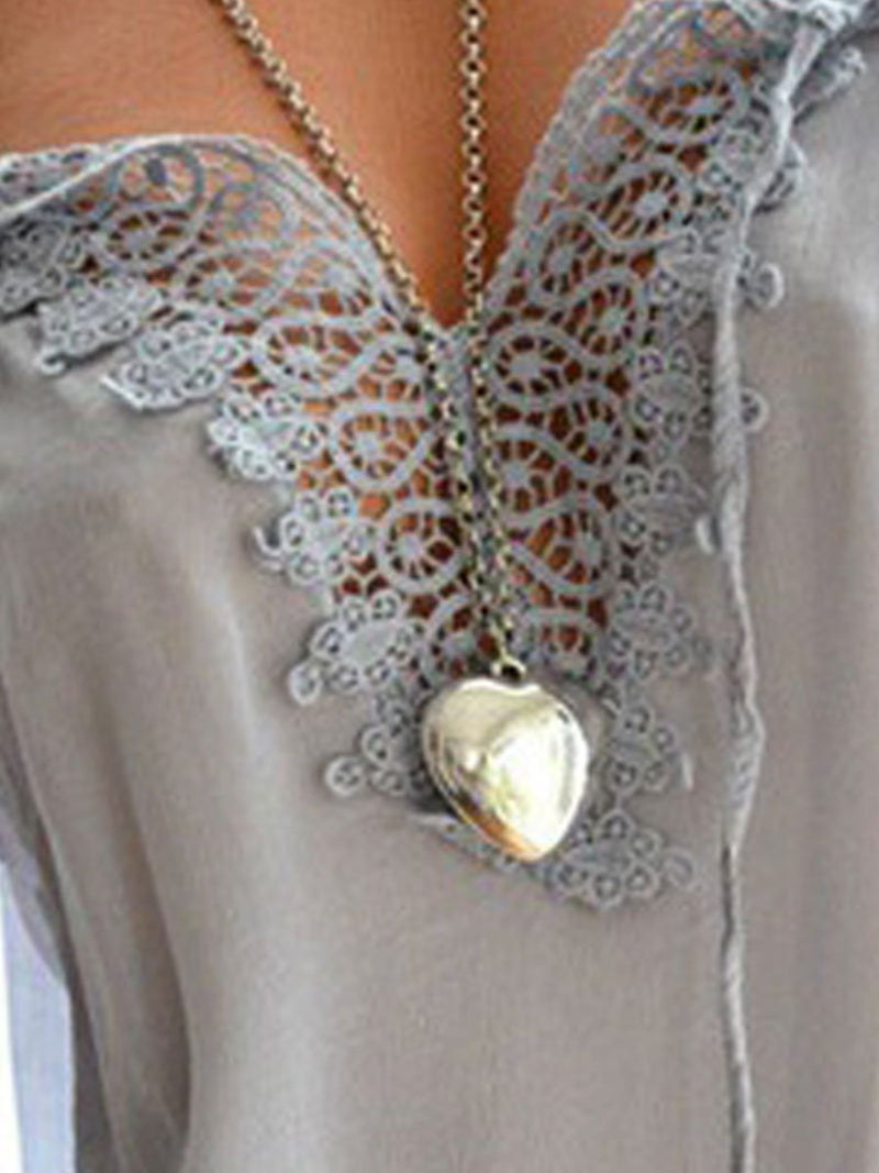 Women  Asymmetric Neck  Decorative Lace Short Sleeve Blouses