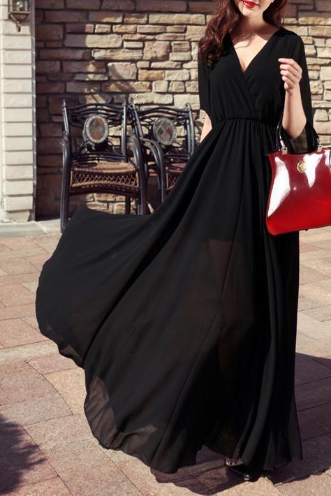 Elegant Chiffon Defined Waist Red Maxi Dress