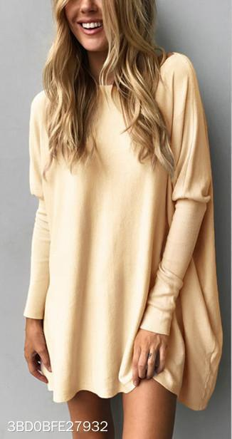 A Fluffy Long Sleeve Women's Shirt Loose Casual Mini Dress