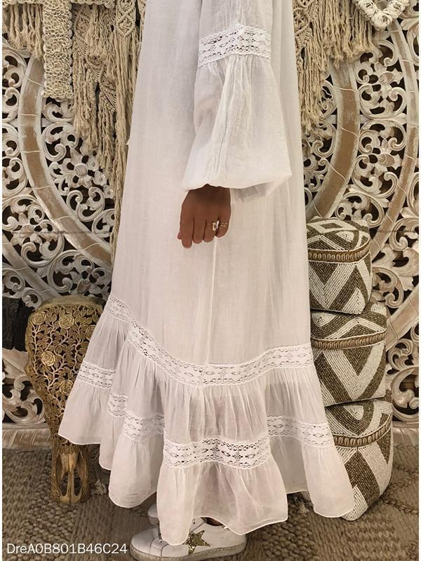 Fashion Long Sleeve Splicing Lace Maxi Dress